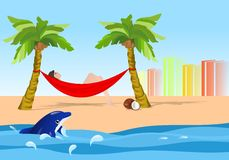 Relaxing in the hammock, cdr vector Stock Photo