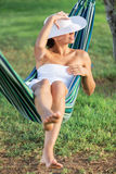Relaxing in the hammock. Stock Photo
