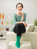 Relaxing happy woman at home Stock Photos