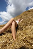 Relaxing in the hay Royalty Free Stock Photos