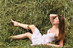 Relaxing on hayloft Royalty Free Stock Photo