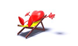 Relaxing heart. 3D generated heart in a longchair Royalty Free Stock Image