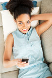 Relaxing with her favorite music. royalty free stock photo