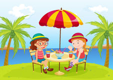 Relaxing on a holiday royalty free illustration