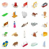Relaxing on holiday icons set, isometric style. Relaxing on holiday icons set. Isometric set of 25 relaxing on holiday vector icons for web isolated on white Stock Photography