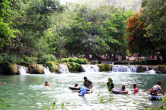 Relaxing on Holiday. People are playing in the rillet to cool off at Muak-Lek waterfall, Saraburi Thailand stock photos