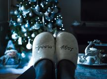 Relaxing at home in holiday Christmas decoration stock images