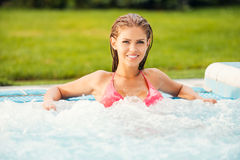 Relaxing in hot tub. Royalty Free Stock Images