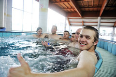 Relaxing in hot tube, jacuzzy Stock Photos