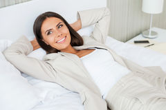 Relaxing in hotel room. Royalty Free Stock Image