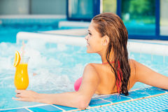 Relaxing in jacuzzi. Royalty Free Stock Images