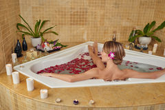 Relaxing in jacuzzi Stock Image