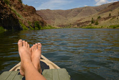 Relaxing on a kayak in a beautiful landscape Stock Image