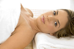 Relaxing lady looking you Royalty Free Stock Photos