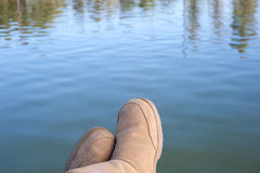 Relaxing at lake Stock Images