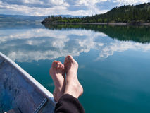 Relaxing on Lake Laberge, Yukon Territory, Canada Stock Images