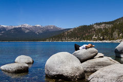 Relaxing in Lake Tahoe Royalty Free Stock Photos