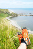 Relaxing with legs crossed in Kaikoura, New Zealand Stock Image