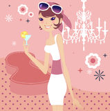 Relaxing lifestyle. A very classy girl's lifestyle Stock Illustration