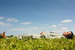 Relaxing listening to music Royalty Free Stock Photography