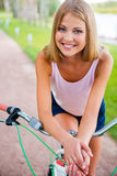 Relaxing after long bicycle ride. Stock Photos