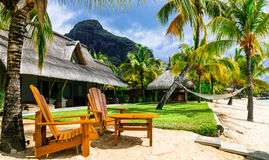 Relaxing luxury holidays with beach chairs and hammock. Mauritiu Stock Image