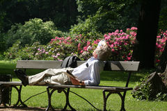 Relaxing man. A man wearing formal clothes relaxing in park Royalty Free Stock Image