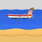 Relaxing man on boat at beach.  Stock Photography