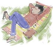 Relaxing. Man in flip flops relaxing outside on rug vector illustration