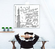 Relaxing man looking at business sketch Royalty Free Stock Photo