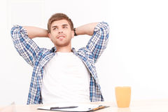 Relaxing man at the office Royalty Free Stock Image