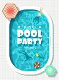 Relaxing man and woman in summer vacation. Swimming pool party vector background. Illustration of swimming pool party poster vector illustration