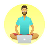 Relaxing man at work with a yoga pose style Stock Images