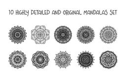 Relaxing Mandalas Set Stock Photo