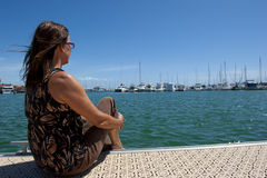 Relaxing at Marina Stock Photos