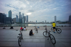 Relaxing at Marina Bay Stock Photography