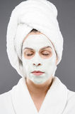 Relaxing Mask. Image of a model wearing a beauty mask relaxing Royalty Free Stock Images