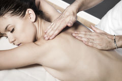 Relaxing massage at beauty spa salon royalty free stock photo