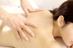 Relaxing during  massage Stock Images