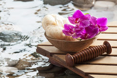 Relaxing massage after hydration for softness Royalty Free Stock Image