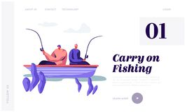 Relaxing Men Fishing in Boat on Lake or River at Summer Day. Fishermen Sitting with Rods Spend Time Together. Summertime Hobby. Website Landing Page, Web Page royalty free illustration