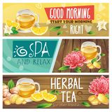 Relaxing morning herbal tea banners set. Set of good morning, spa and relax, herbal tea horizontal banners with teacup, sliced lemon and ginger root, leaves and royalty free stock photos