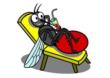 Relaxing mosquito. A relaxing mosquito with a glass of blood stock illustration