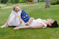 Relaxing Mother and Daughter Stock Photography