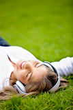 Relaxing with music Royalty Free Stock Photo