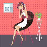 Relaxing music. Having a break and listening to music vector illustration