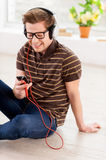 Relaxing with music. Stock Image
