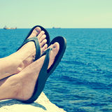 relaxing near the ocean, with a retro filter effect Stock Images