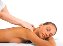Relaxing neck massage. Girl is having neck massage, isolated on white stock images