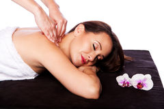 Relaxing neck shoulder massage in spa Stock Photos